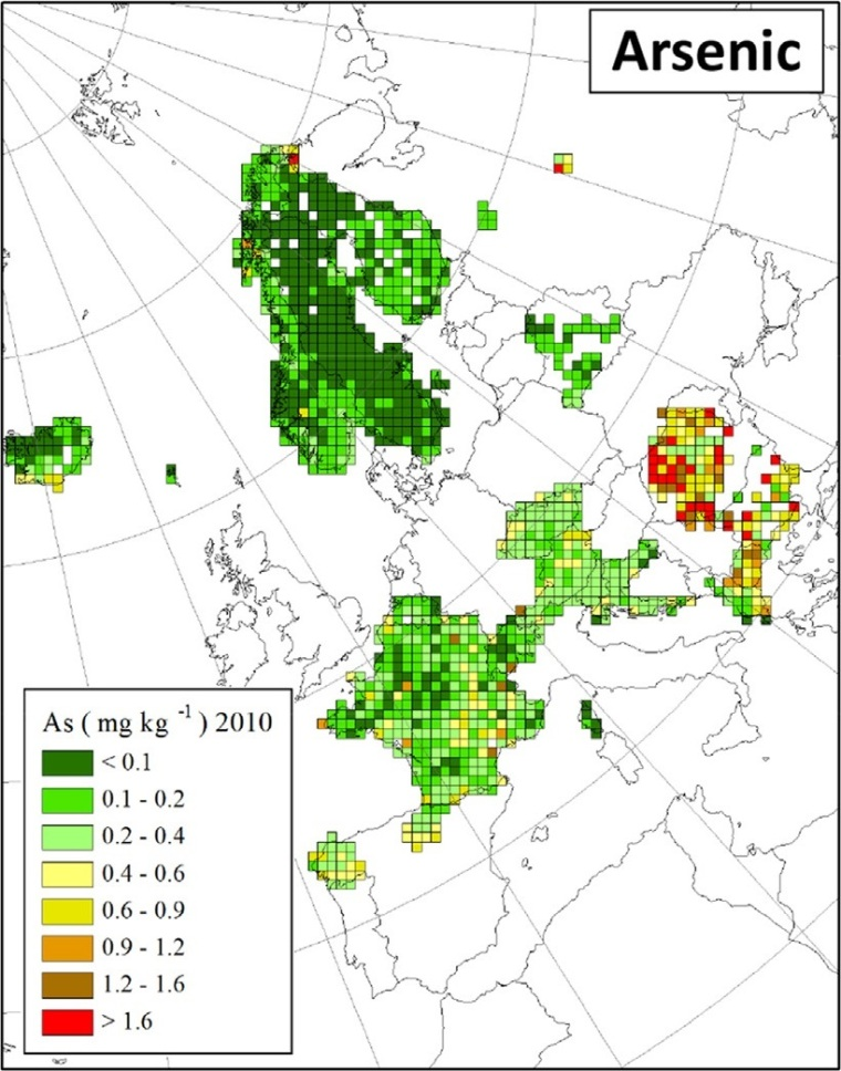 "Distribuzione dell'arsenico in Europa (fonte: H. Harmens et al (2015): Heavy metal and nitrogen concentrations in mosses are declining across Europe whilst some ""hotspots"" remain in 2010. Environmental Pollution 200 (2015) 93-104.)"
