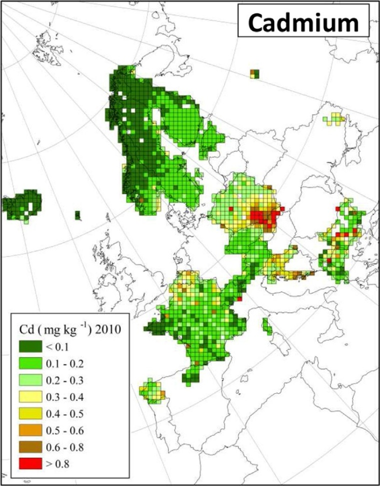 "Distribuzione di cadmio in Europa (fonte: H. Harmens et al (2015): Heavy metal and nitrogen concentrations in mosses are declining across Europe whilst some ""hotspots"" remain in 2010. Environmental Pollution 200 (2015) 93-104.)"