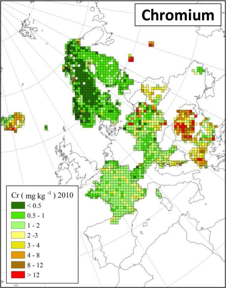 "Distribuzione di cromo in Europa (fonte: H. Harmens et al (2015): Heavy metal and nitrogen concentrations in mosses are declining across Europe whilst some ""hotspots"" remain in 2010. Environmental Pollution 200 (2015) 93-104.)"