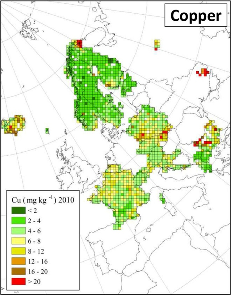 "Distribuzione di rame in Europa (fonte: H. Harmens et al (2015): Heavy metal and nitrogen concentrations in mosses are declining across Europe whilst some ""hotspots"" remain in 2010. Environmental Pollution 200 (2015) 93-104.)"