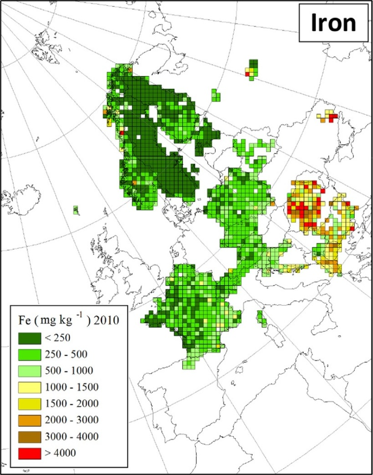"Distribuzione di ferro in Europa (fonte: H. Harmens et al (2015): Heavy metal and nitrogen concentrations in mosses are declining across Europe whilst some ""hotspots"" remain in 2010. Environmental Pollution 200 (2015) 93-104.)"