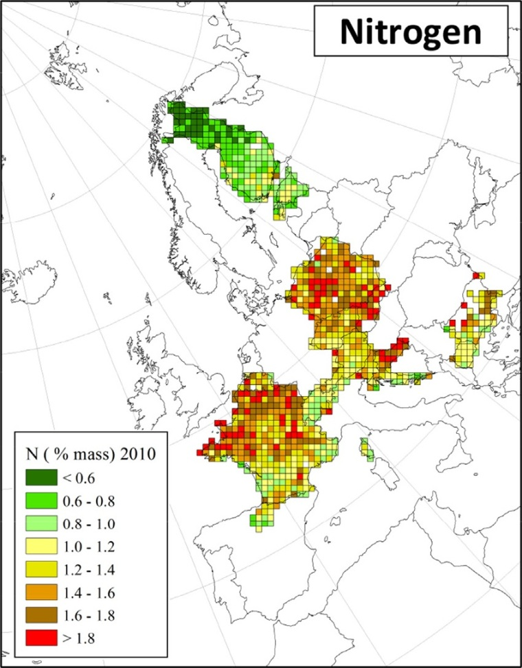 "Distribuzione di azoto in Europa (fonte: H. Harmens et al (2015): Heavy metal and nitrogen concentrations in mosses are declining across Europe whilst some ""hotspots"" remain in 2010. Environmental Pollution 200 (2015) 93-104.)"