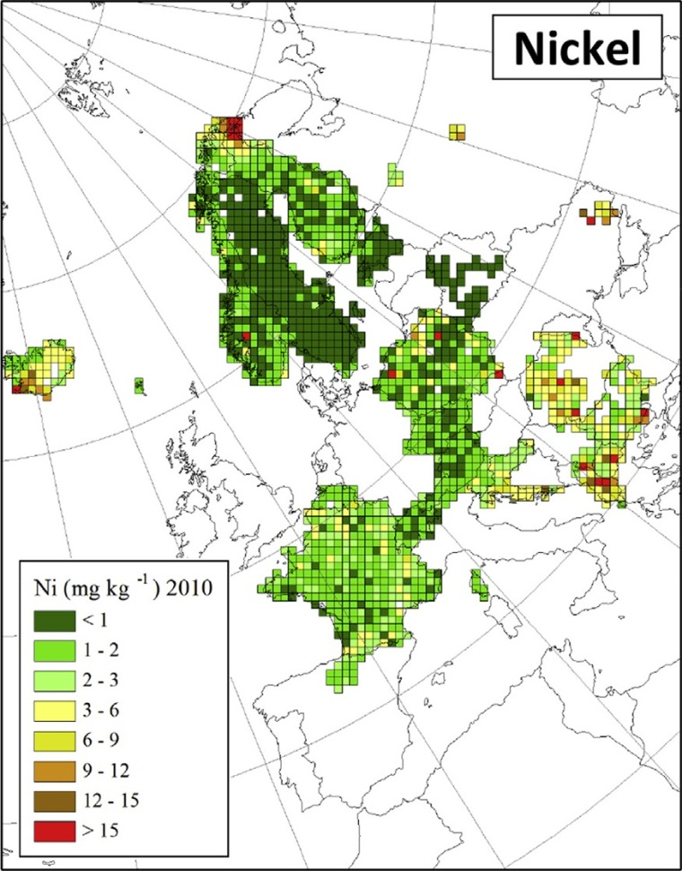 "Distribuzione di nichel in Europa (fonte: H. Harmens et al (2015): Heavy metal and nitrogen concentrations in mosses are declining across Europe whilst some ""hotspots"" remain in 2010. Environmental Pollution 200 (2015) 93-104.)"
