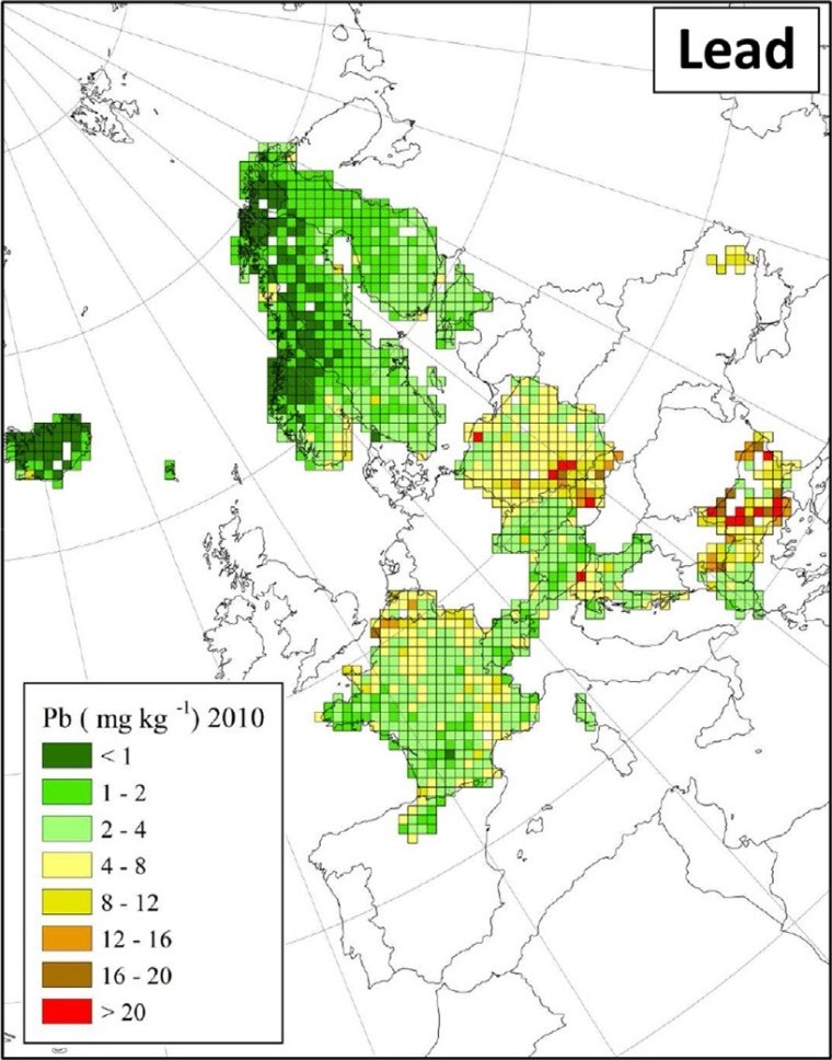 "Distribuzione di piombo in Europa (fonte: H. Harmens et al (2015): Heavy metal and nitrogen concentrations in mosses are declining across Europe whilst some ""hotspots"" remain in 2010. Environmental Pollution 200 (2015) 93-104.)"