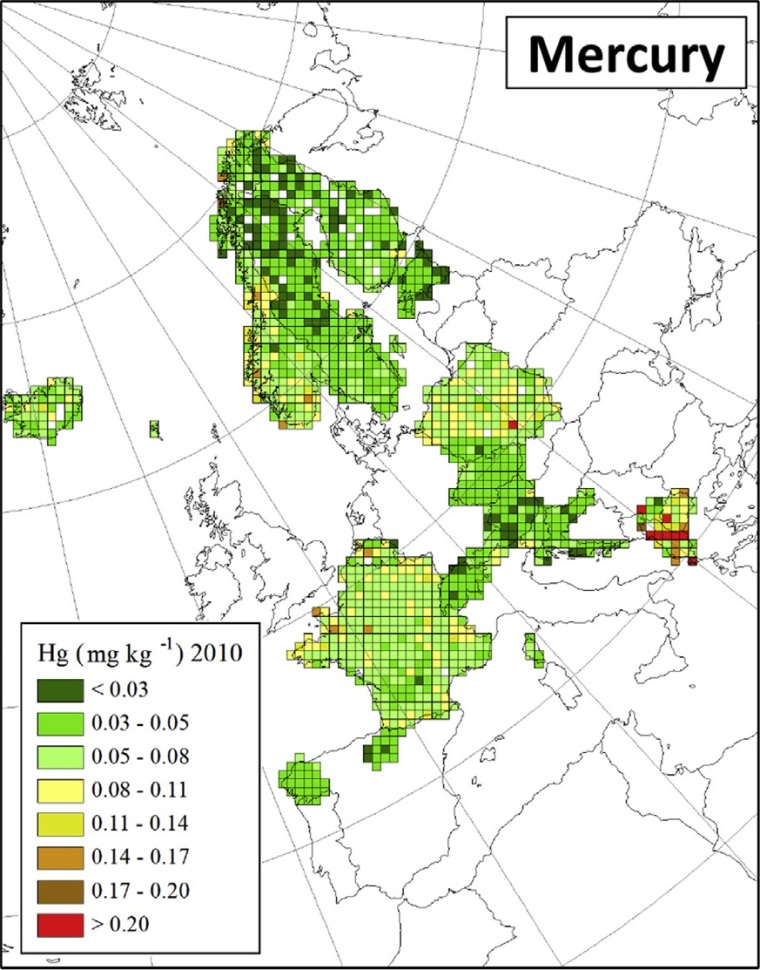 "Distribuzione di mercurio in Europa (fonte: H. Harmens et al (2015): Heavy metal and nitrogen concentrations in mosses are declining across Europe whilst some ""hotspots"" remain in 2010. Environmental Pollution 200 (2015) 93-104.)"