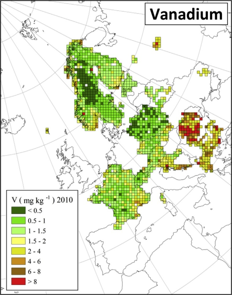 "Distribuzione di vanadio in Europa (fonte: H. Harmens et al (2015): Heavy metal and nitrogen concentrations in mosses are declining across Europe whilst some ""hotspots"" remain in 2010. Environmental Pollution 200 (2015) 93-104.)"