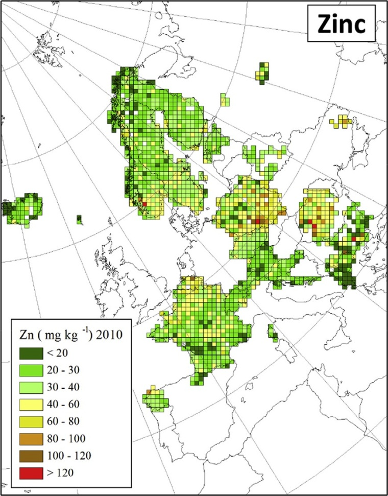 "Distribuzione di zinco in Europa (fonte: H. Harmens et al (2015): Heavy metal and nitrogen concentrations in mosses are declining across Europe whilst some ""hotspots"" remain in 2010. Environmental Pollution 200 (2015) 93-104.)"